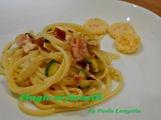 linguine prosciutto zucchine e grok