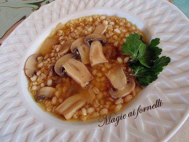 zuppa di orzo e funghi crema