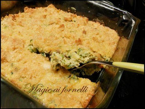 Tortino di zucchine  e crumble di parmigiano