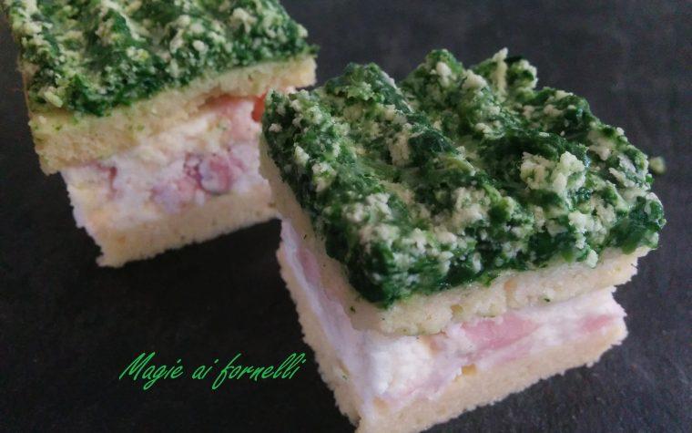 Pan di Spagna versione salata mousse ricotta e prosciutto