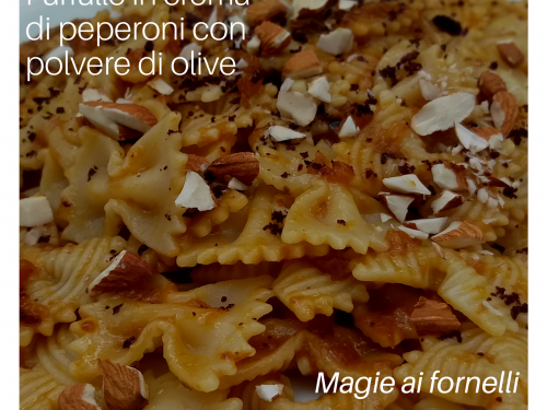 Farfalle in crema di peperoni con polvere di olive